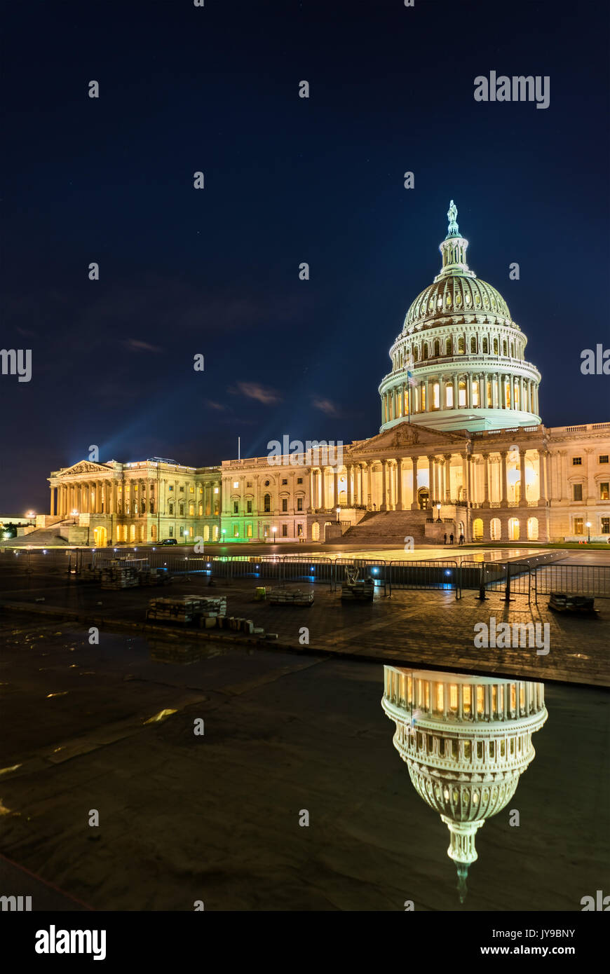 The United States Capitol Building at night in Washington, DC - Stock Image