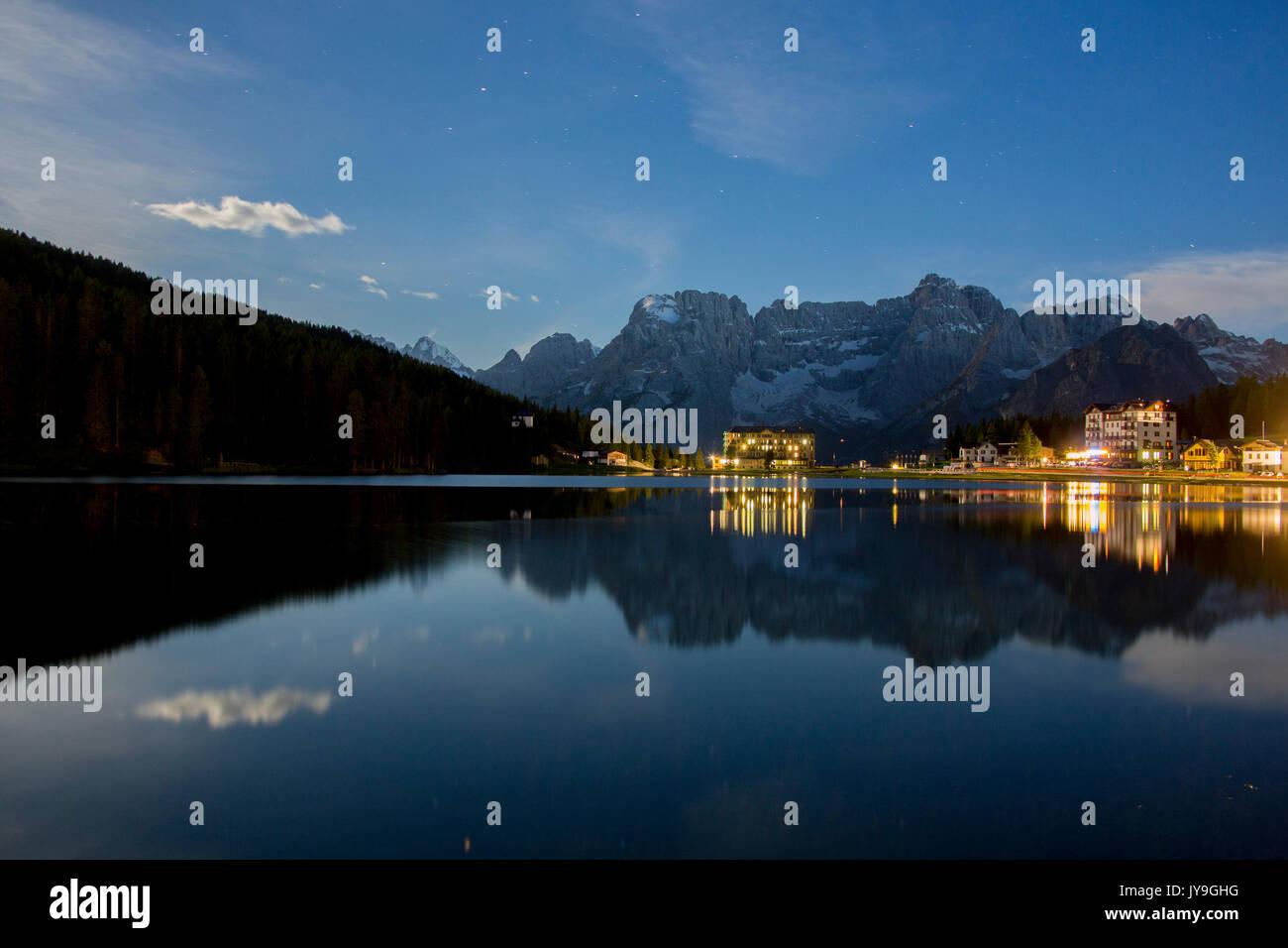 Starry sky during a full moon night in Misurina. Cortina d'Ampezzo. Dolomites. Veneto. Italy. Europe Stock Photo
