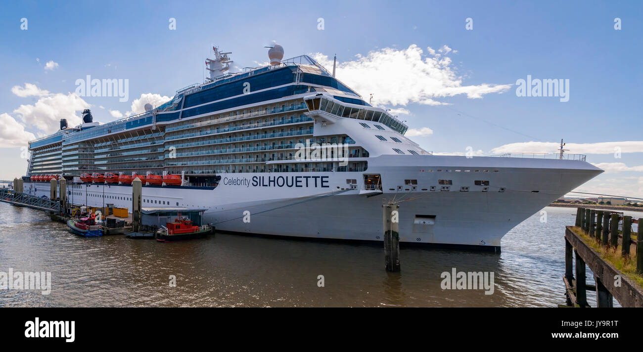 Cruise liner Celebrity Silhouetee at Liverpool terminal. Pierhead - Stock Image