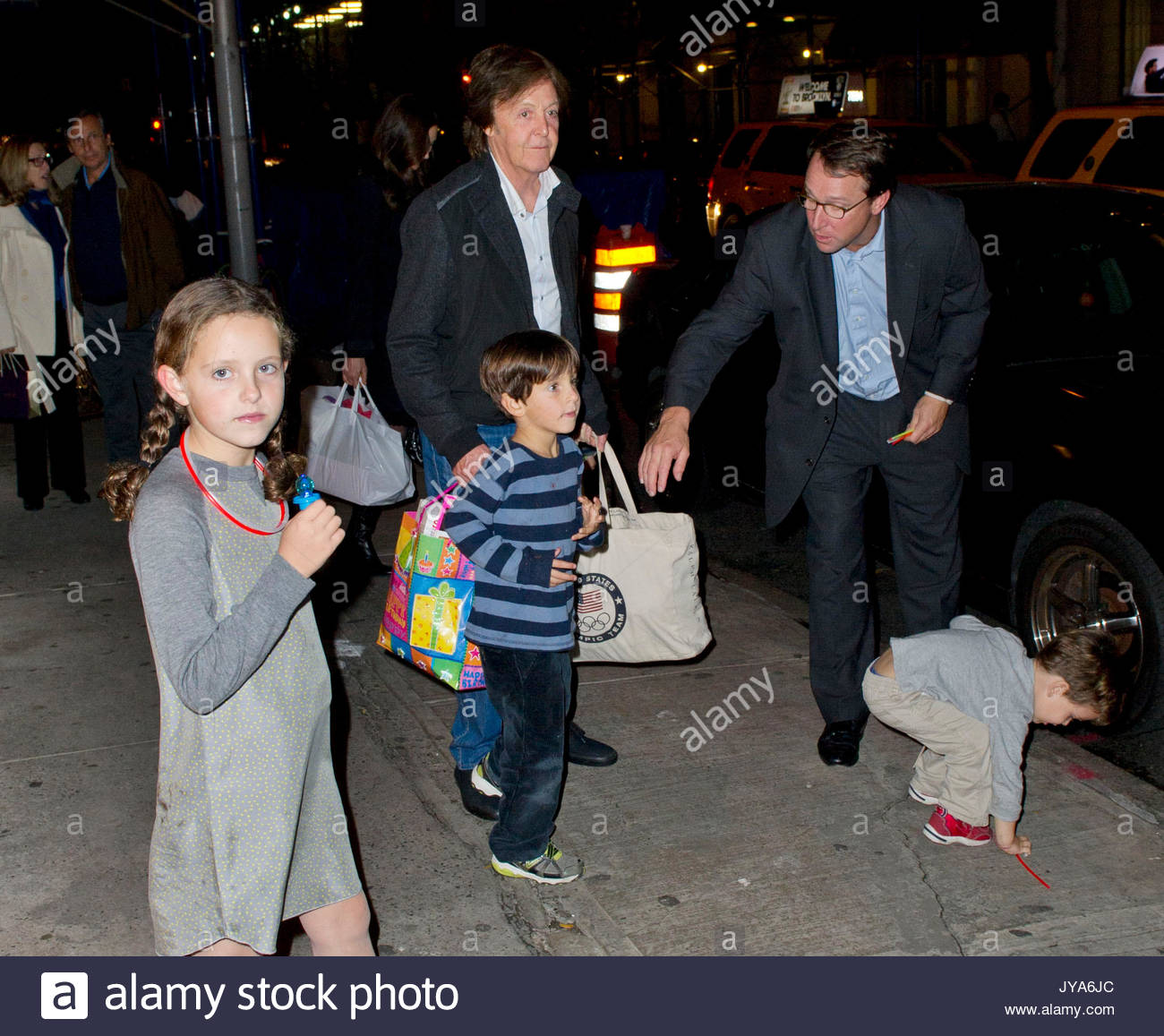 Paul McCartney McCartne His Daughter Beatrice And Wife Nancy Shevell Leave A Birthday Party Held At Serafina In New York City
