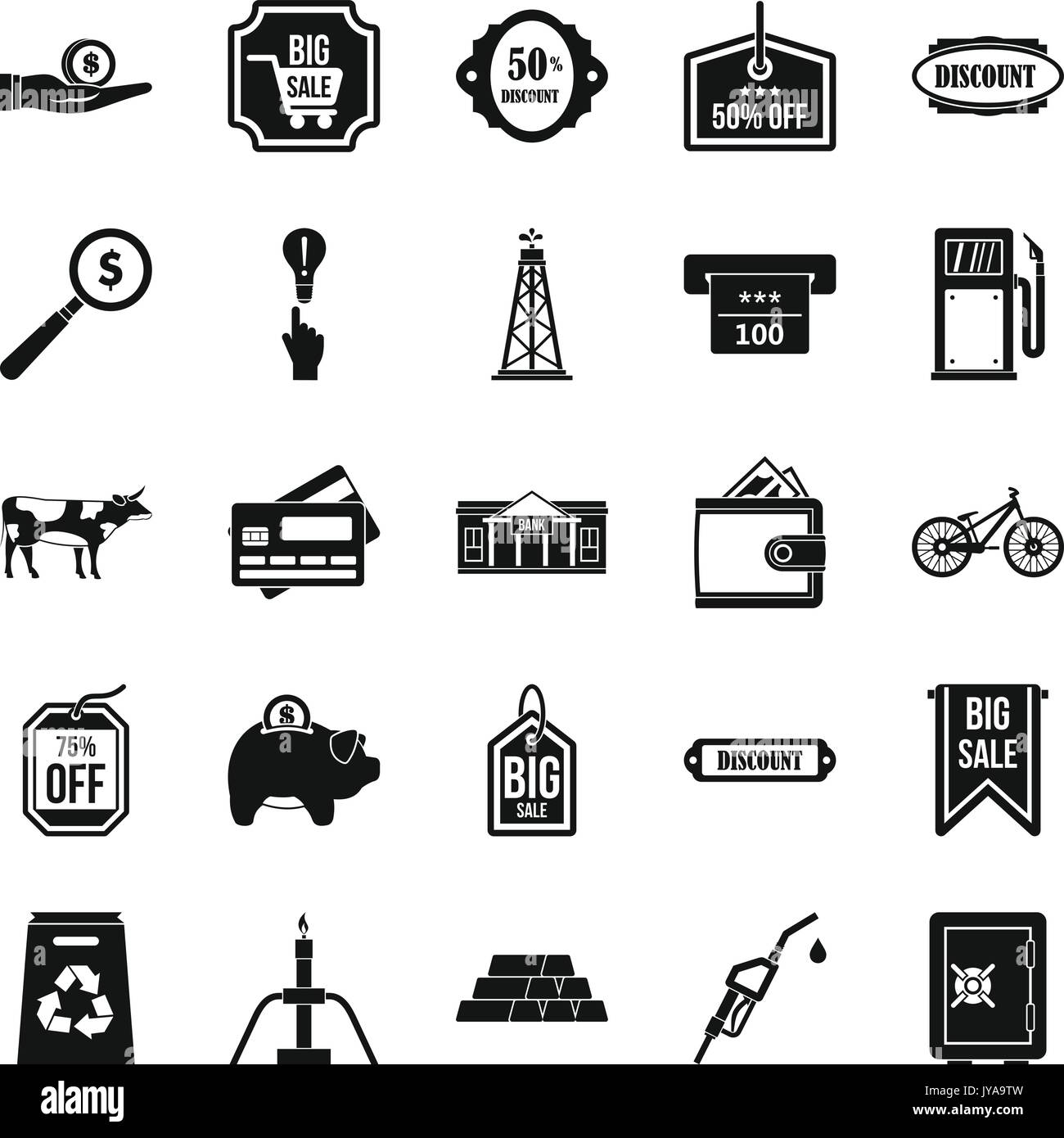 Prudence icons set, simple style - Stock Image