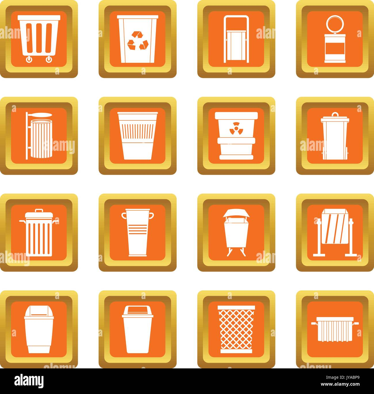 Garbage container icons set orange - Stock Vector