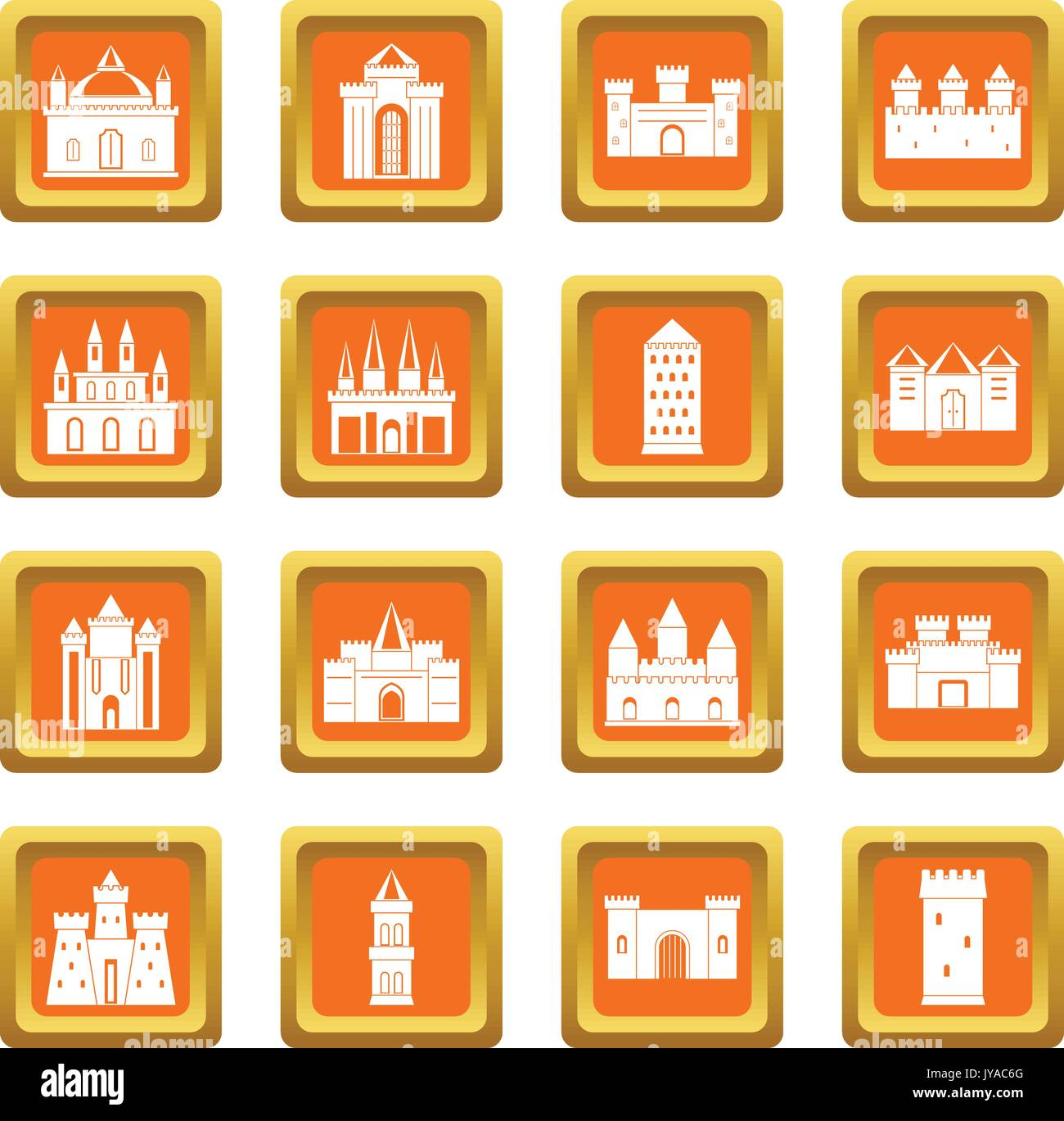 Towers and castles icons set orange - Stock Vector