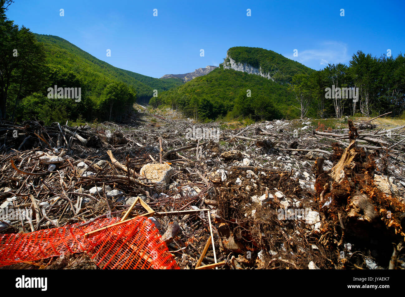 The trail of destruction leading to Hotel Rigopiano near Farindola in Italy, after an avalanche destroyed the hotel killing 29 people in January 2017. - Stock Image