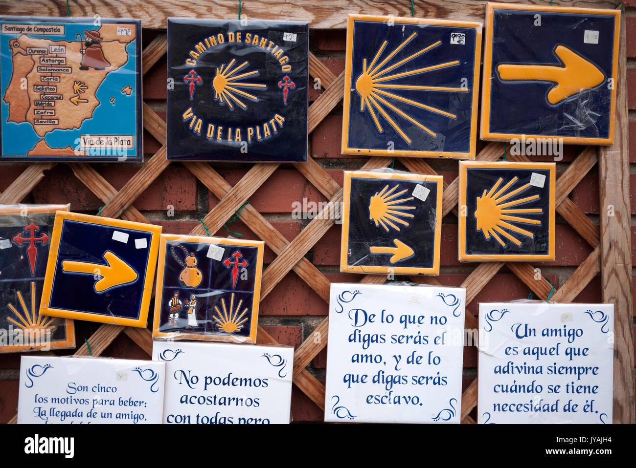 Camino de santiago via de la plata souvenir ceramic tiles on sale camino de santiago via de la plata souvenir ceramic tiles on sale stock photo 154512768 alamy dailygadgetfo Image collections
