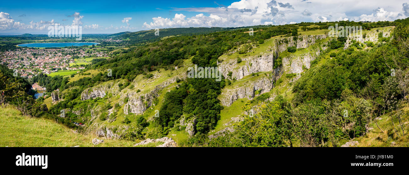 A view on top of Cheddar Gorge in Cheddar,United Kingdom - Stock Image