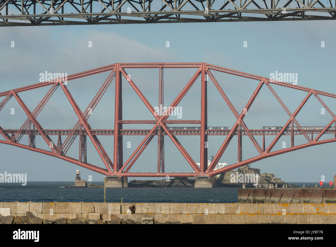 Forth bridge centre cantilever section, Firth of Forth, Scotland, UK - Stock Image