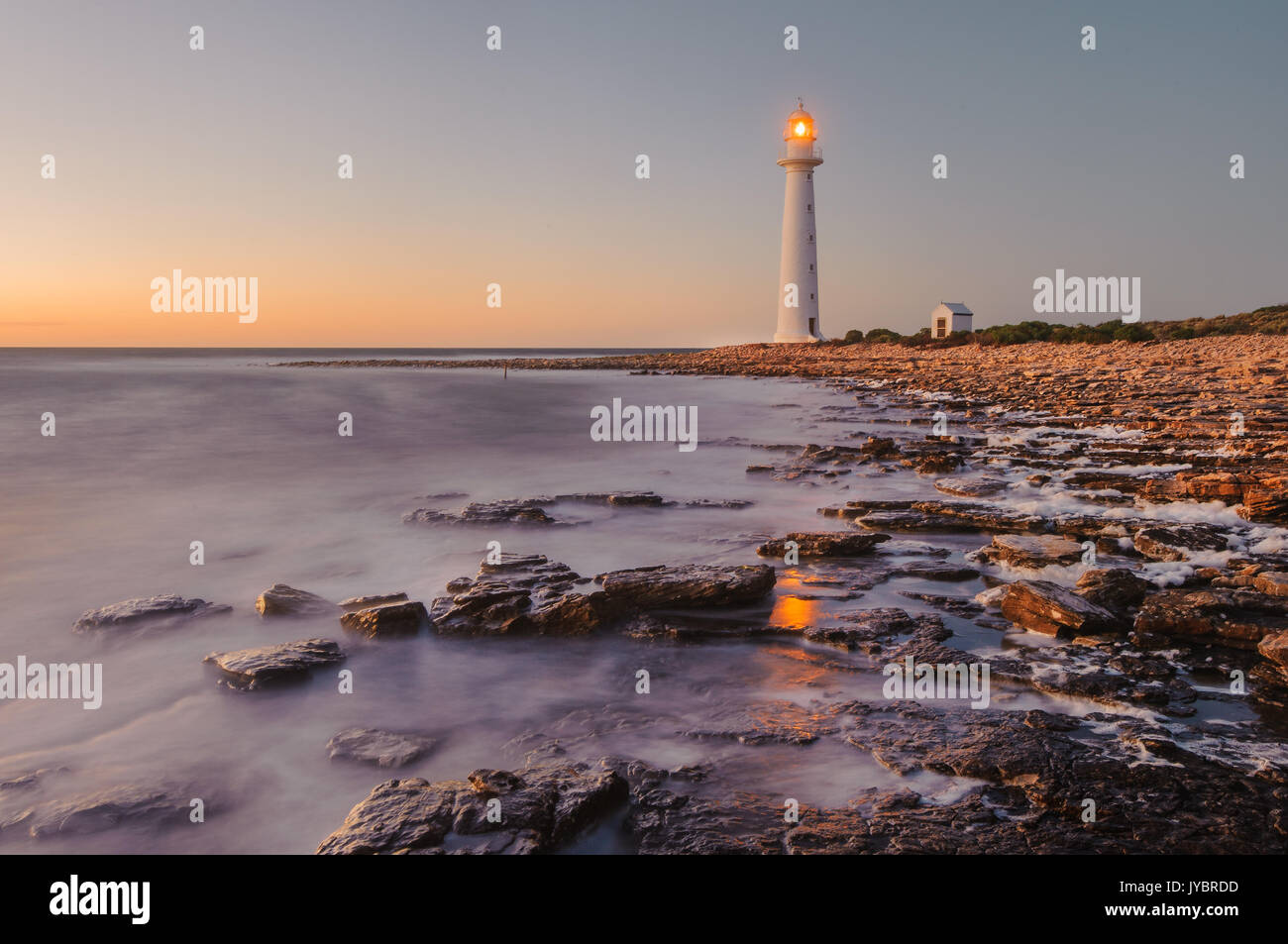 Point Lowly Lighthouse at dawn. Stock Photo