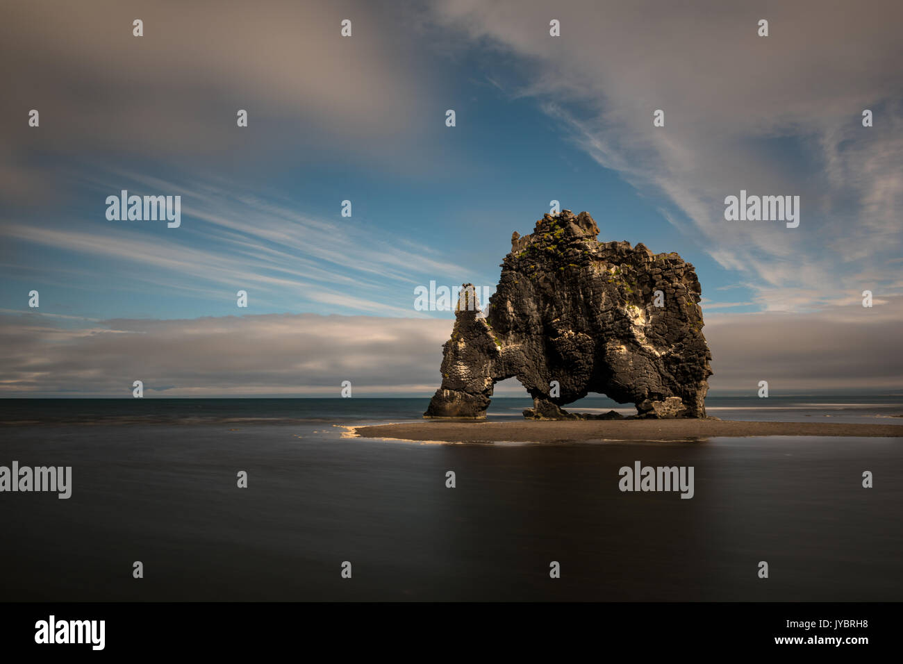 Basalt stack of Hvitserkur at the northern coast of Iceland. - Stock Image