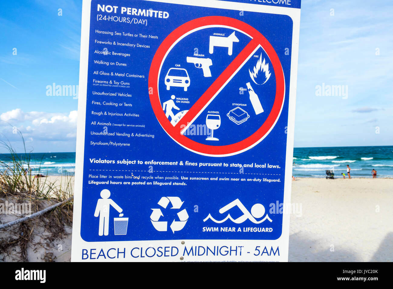 Miami Beach Florida regulatory sign warning not permitted drinking