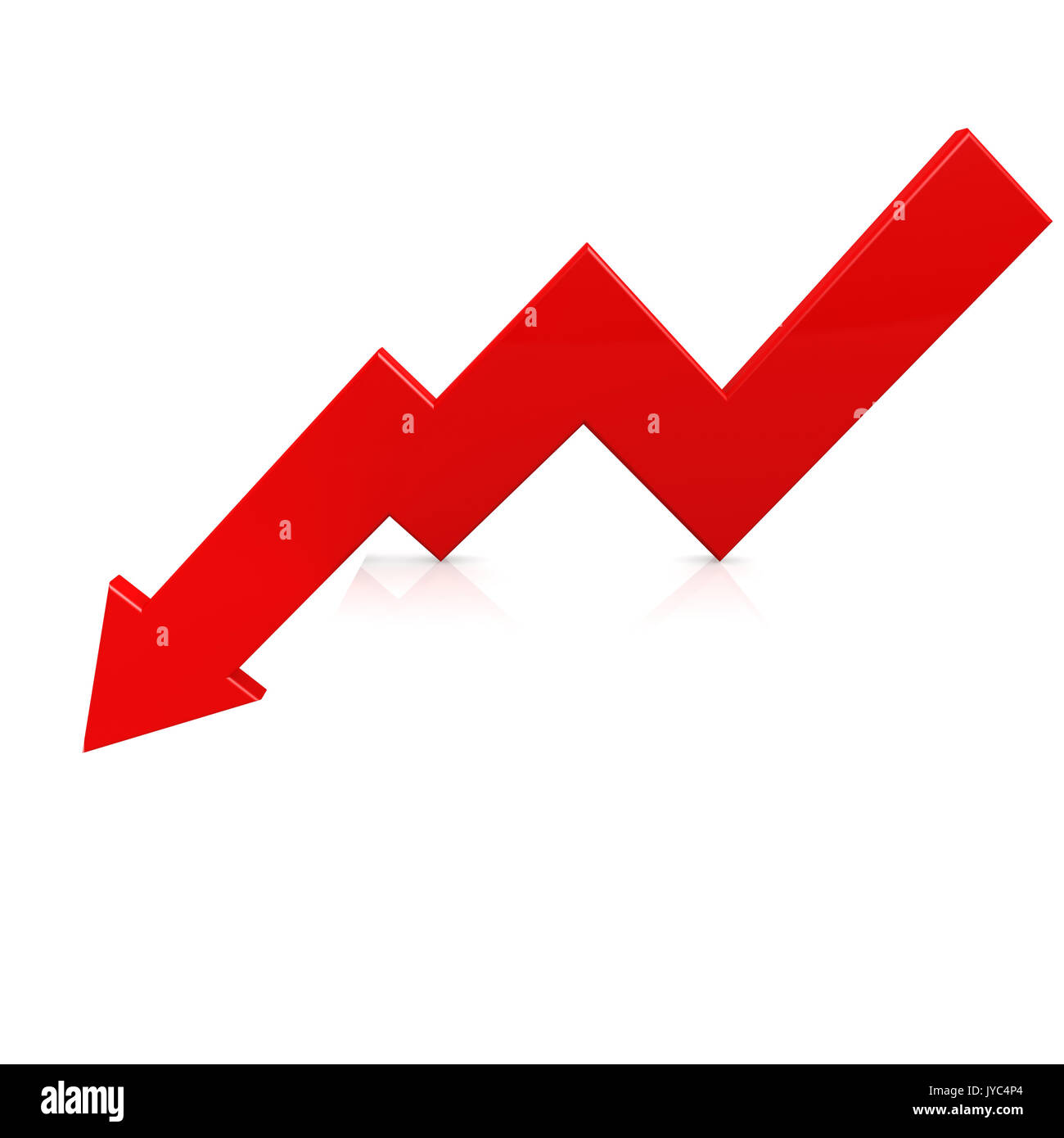 Crisis arrow red image with hi-res rendered artwork that could be used for any graphic design. Stock Photo