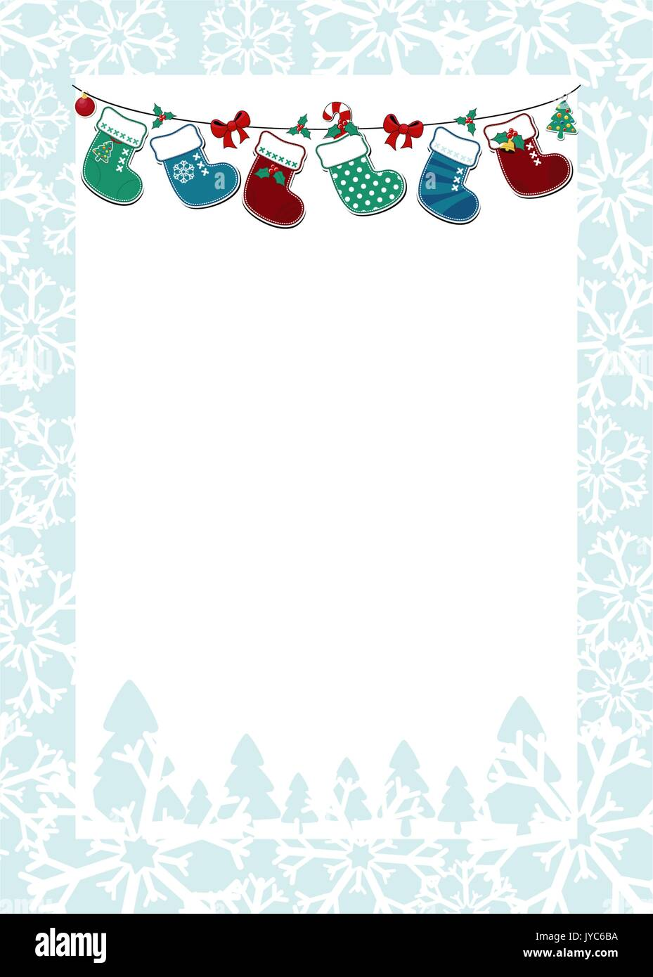Christmas Frame With Hanging Socks And White Background For Your