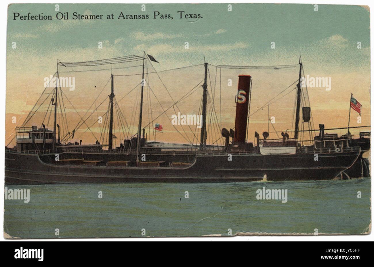 Perfection Oil Steamer at Aransas Pass, Texas. - Stock Image