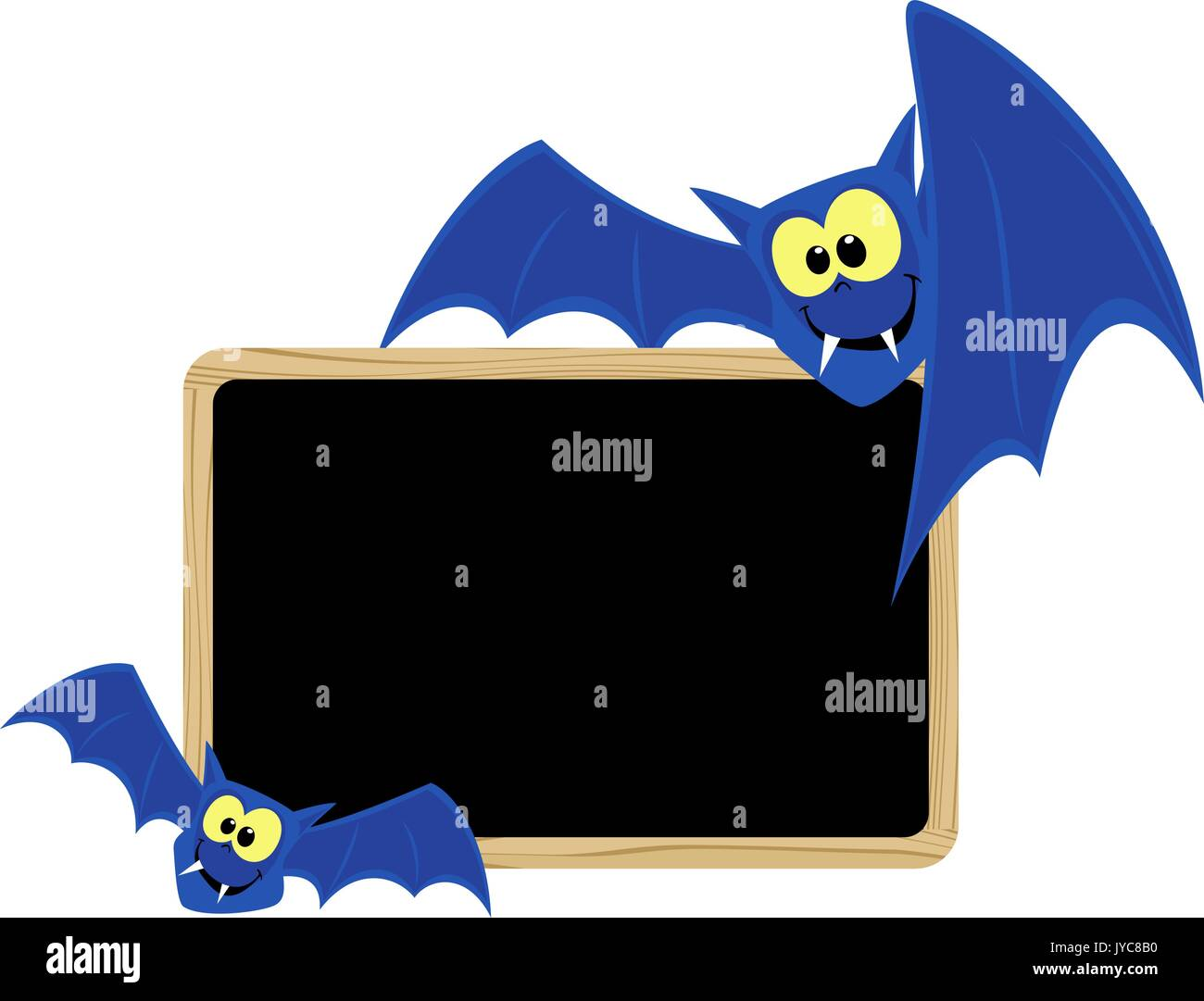 funny bats with blank signboard for halloween themes isolated on