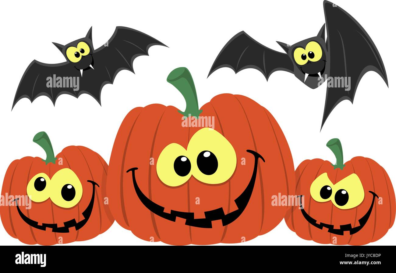 funny pumpkins and bats cartoon isolated on white background - Stock Vector