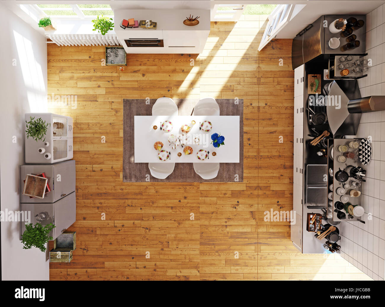 Top View Of The Modern Kitchen Room 3d Concept Rendeing Stock Photo