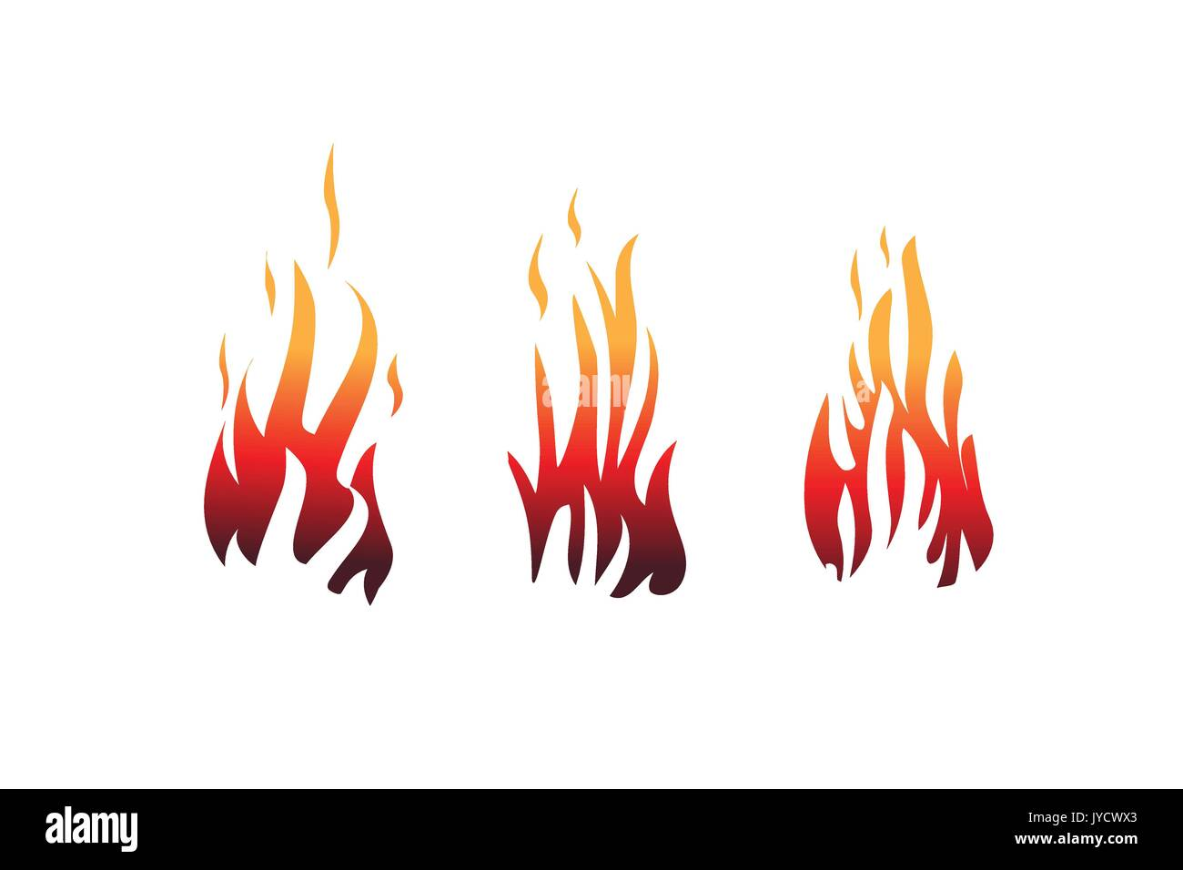 set of flames, flame illustration, icon design, isolated on white background. - Stock Vector