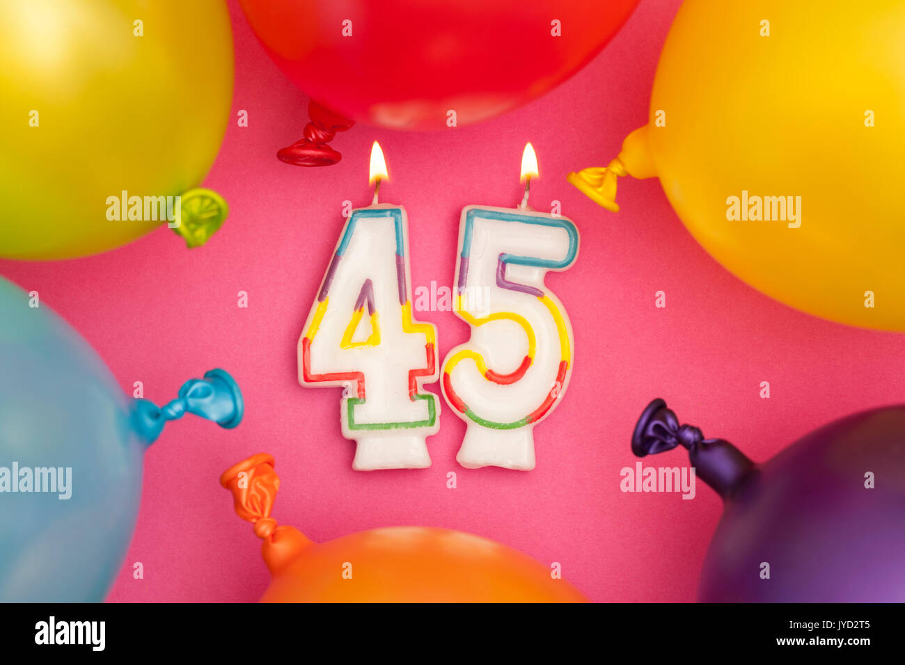 Happy Birthday Number 45 Celebration Candle With Colorful Balloons