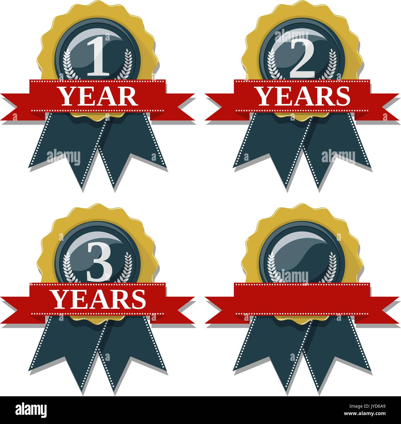 seal and ribbon collection commemorating 1 2 3 years,  in vector format very easy to edit, individual objects, solid colors, no gradients - Stock Image