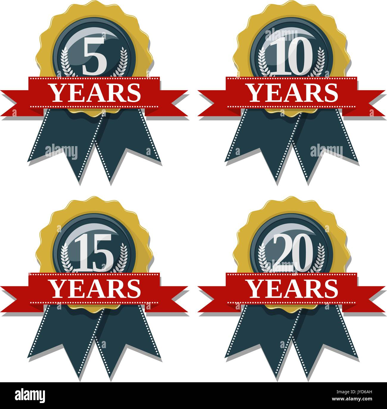 seal and ribbon collection commemorating 5 10 15 20 years,  in vector format very easy to edit, individual objects, solid colors, no gradients - Stock Vector