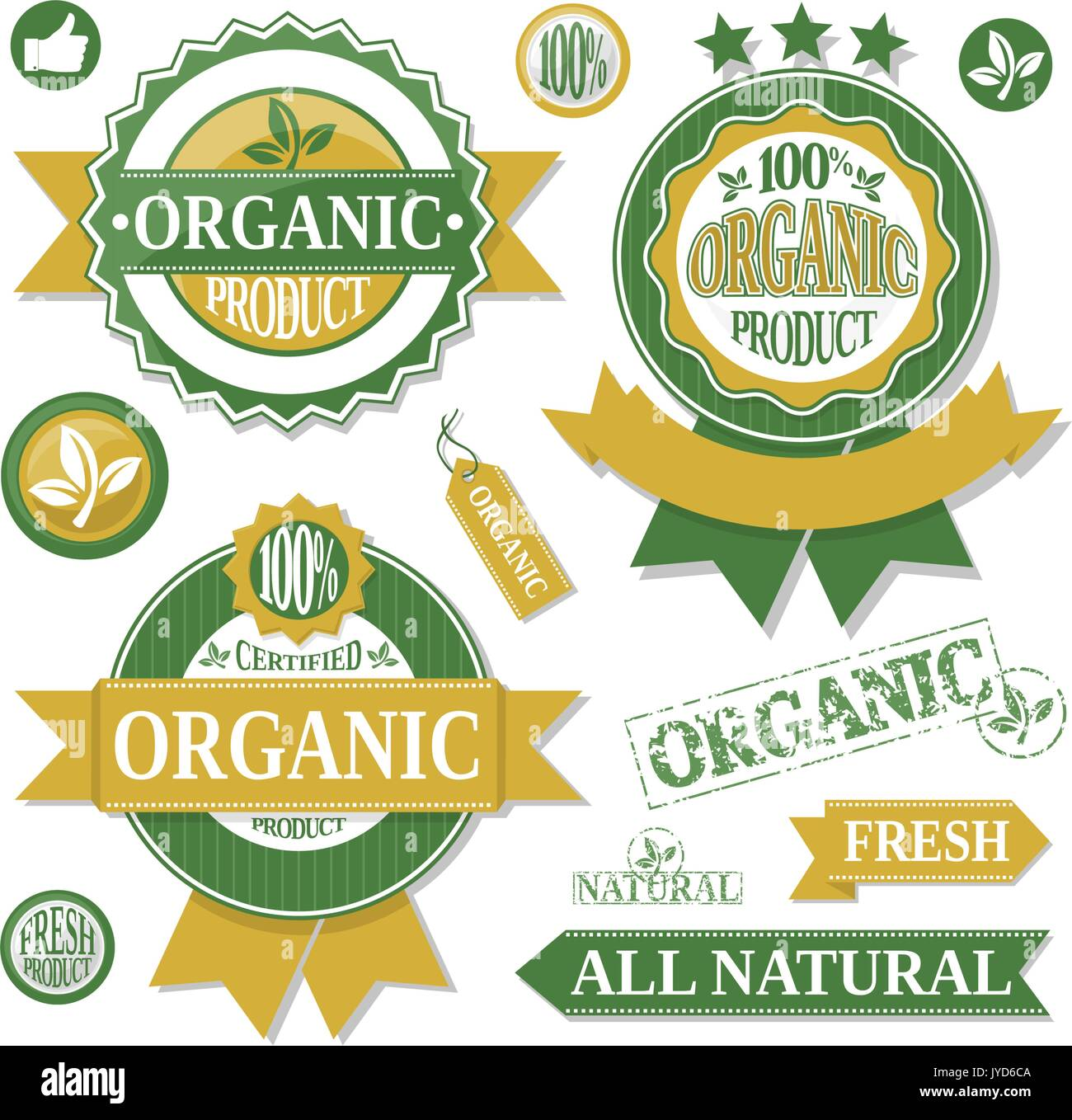 organic products labels and design elementsisolated on white