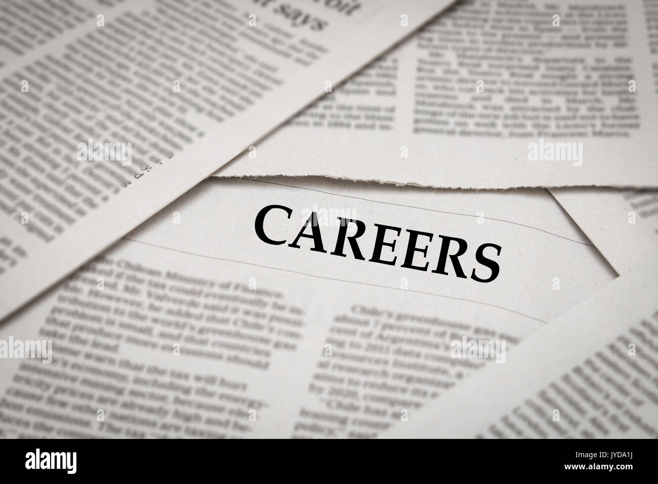 careers headline on newspaper background - Stock Image
