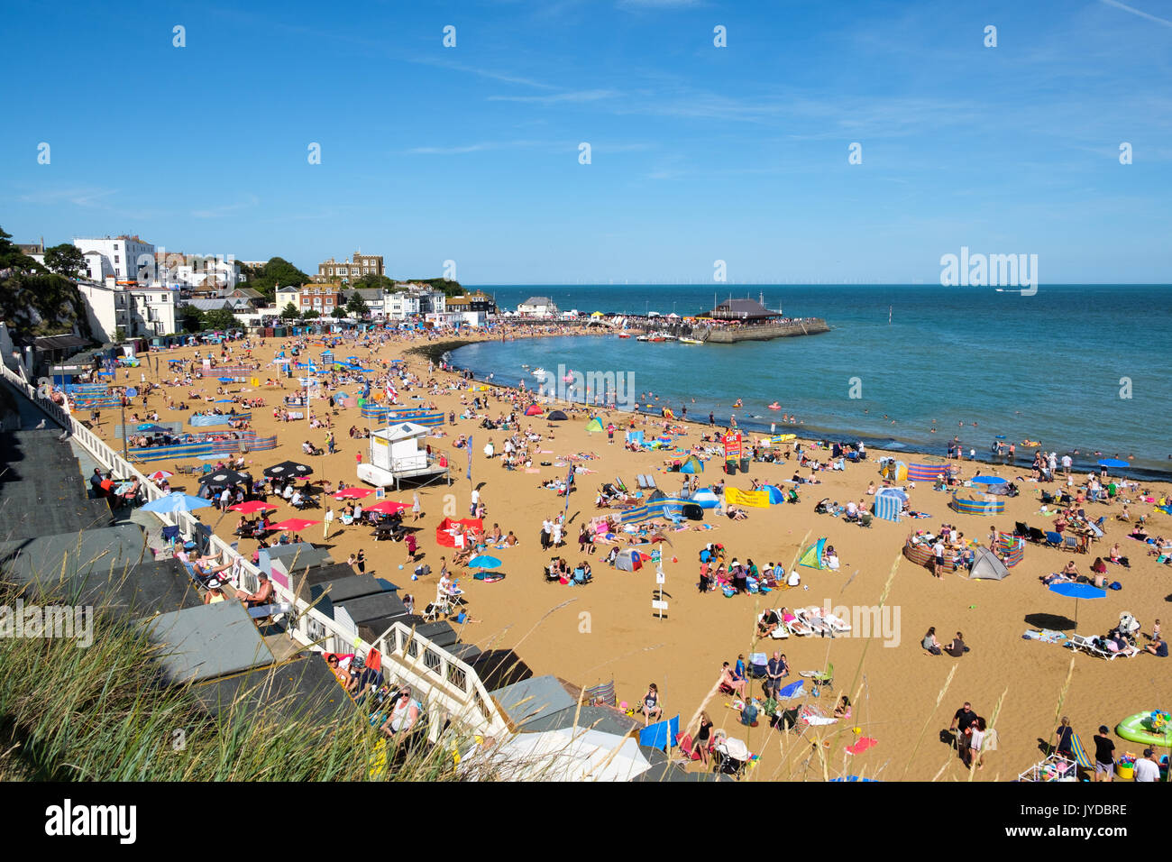 View of Viking bay beach on a sunny day, Broadstairs seaside town, Kent, England, UK Stock Photo