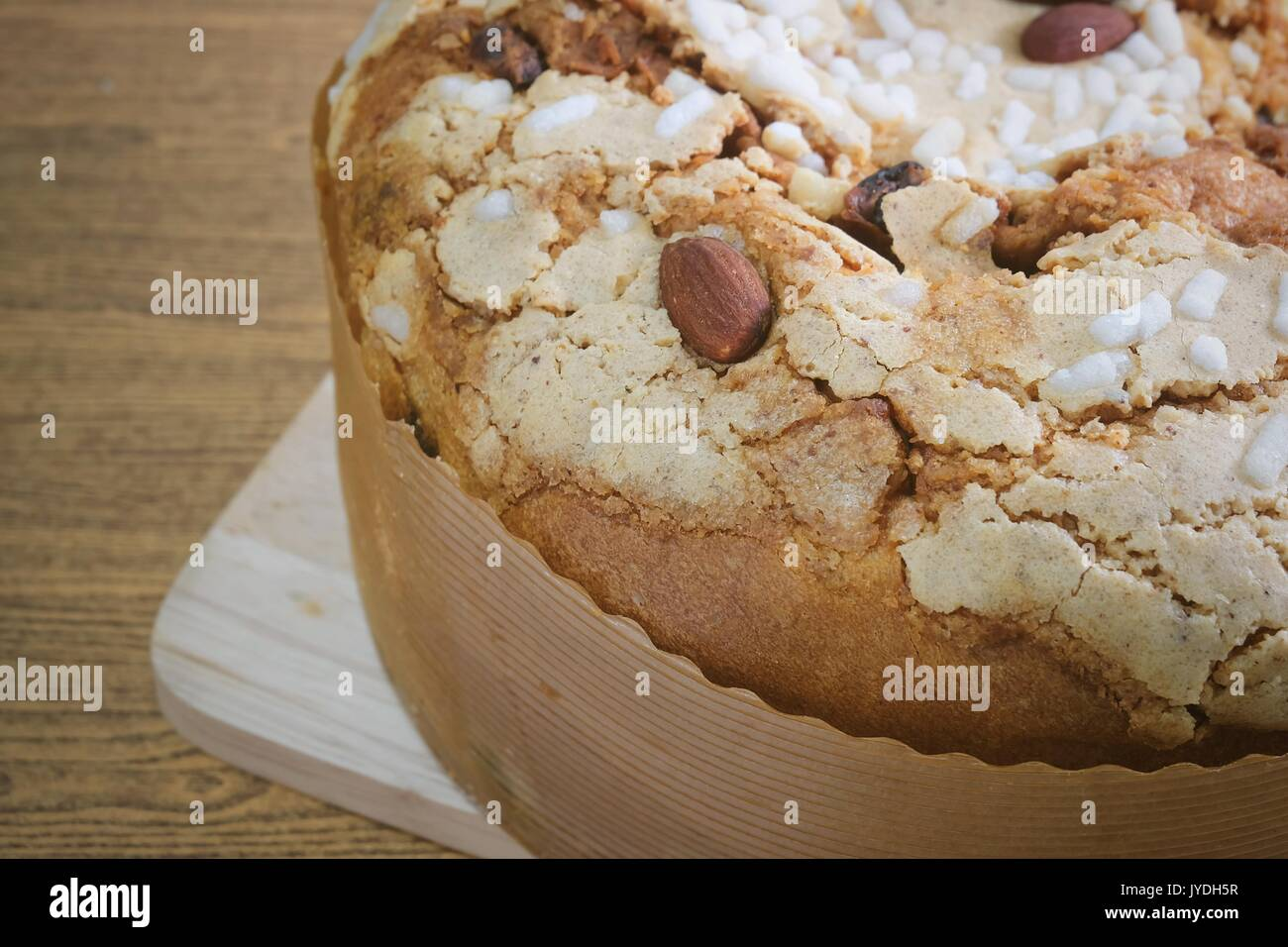 Dessert and Sweet Food, Traditional Honey Cake Topped with Caramel, Resins and Almonds. Stock Photo