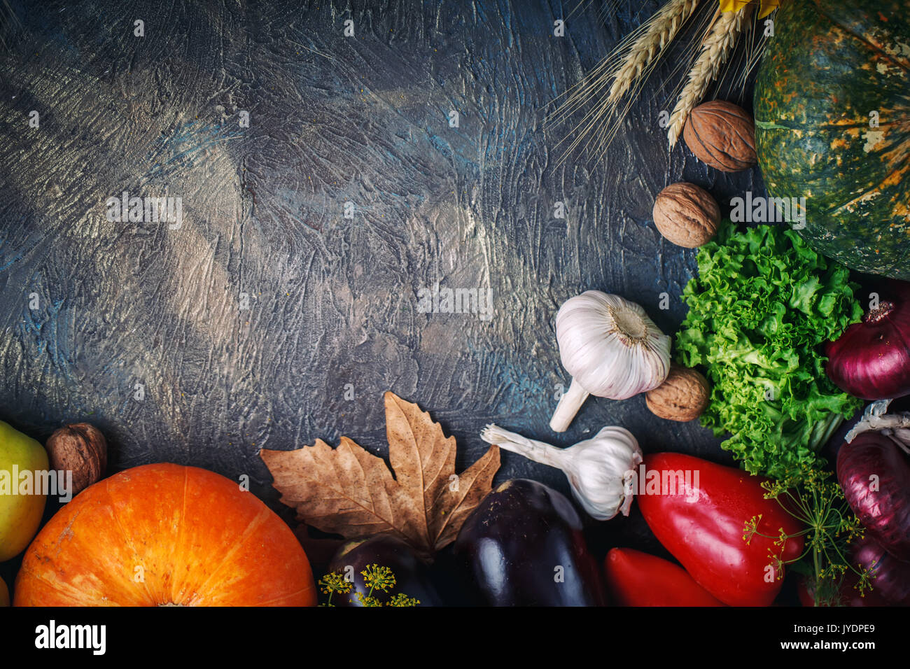The table, decorated with vegetables and fruits. Harvest Festival,Happy Thanksgiving. - Stock Image