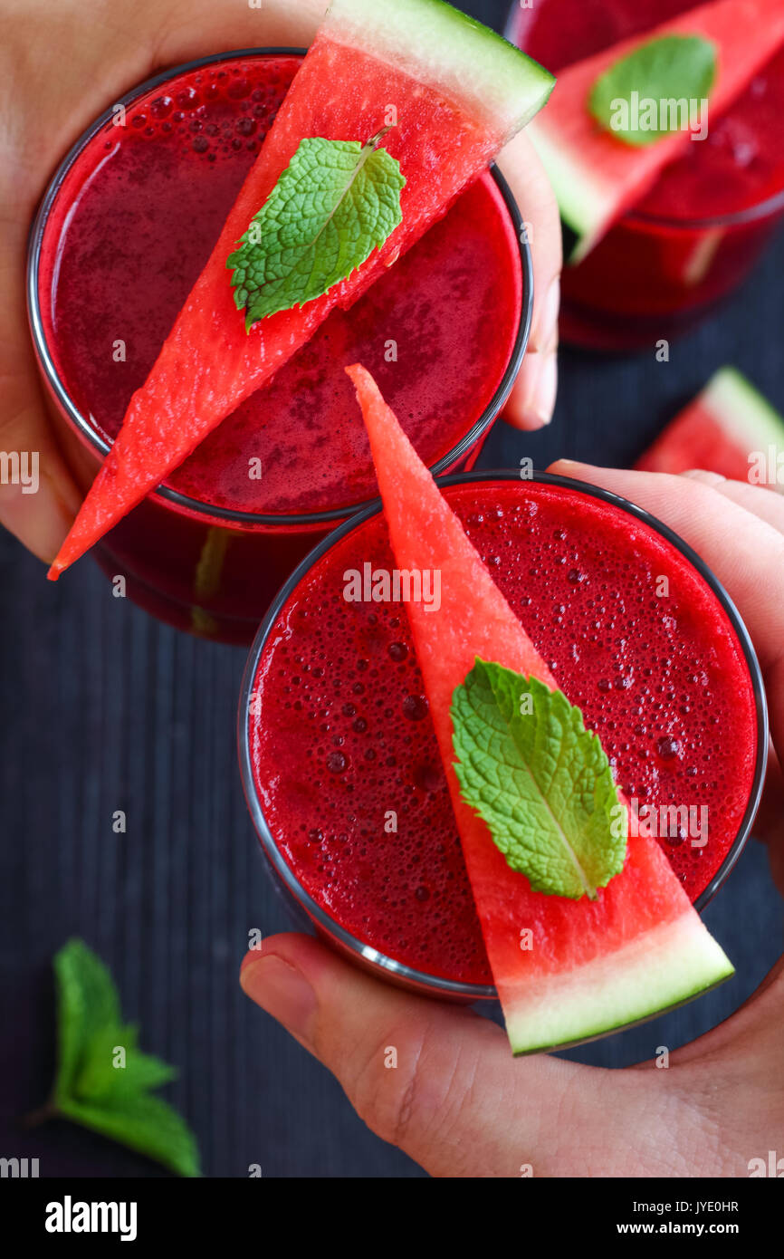 Healthy Beet and Watermelon Juice Stock Photo