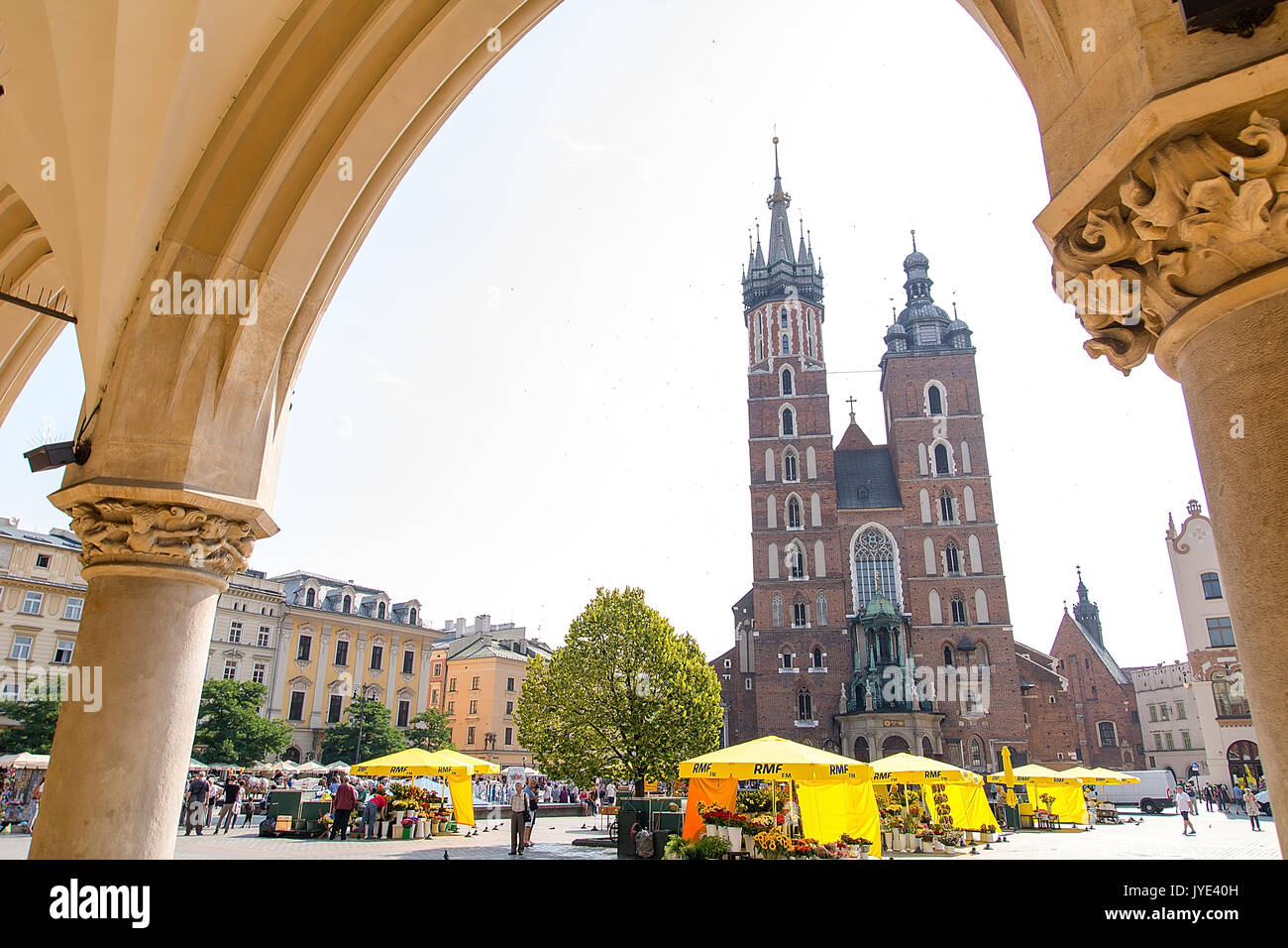 St. Mary`Basilica at the market square in Krakow (Poland) - Stock Image