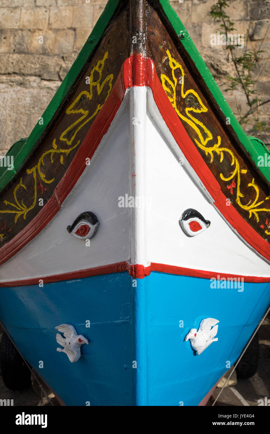 Malta, Valetta, typical Maltese fishing boats, hand painted, called Luzzu, also used as a water taxi in the Grand Harbour, - Stock Image