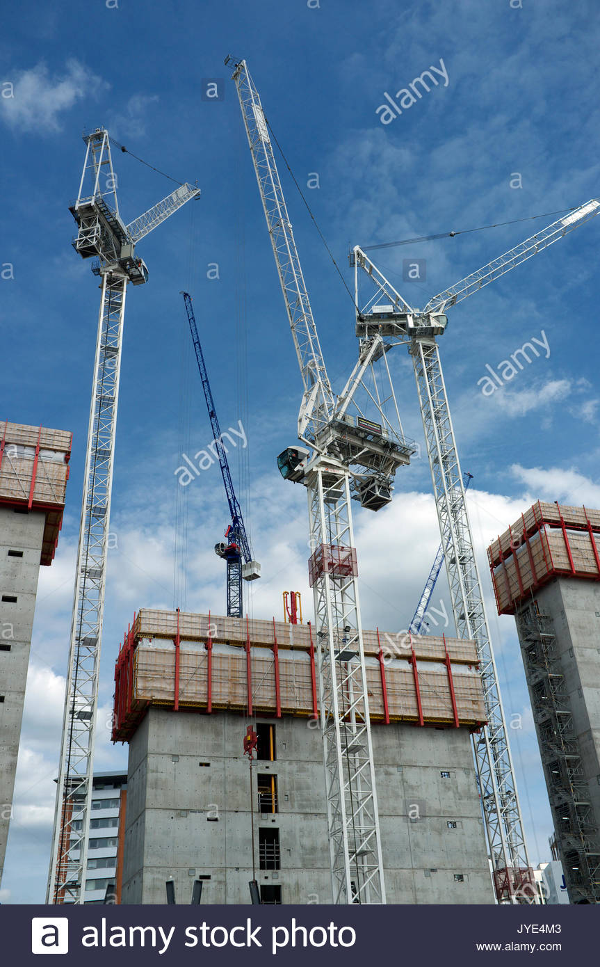 Luffer jib tower cranes at a construction site in Paddington Basin, in central London, UK. - Stock Image