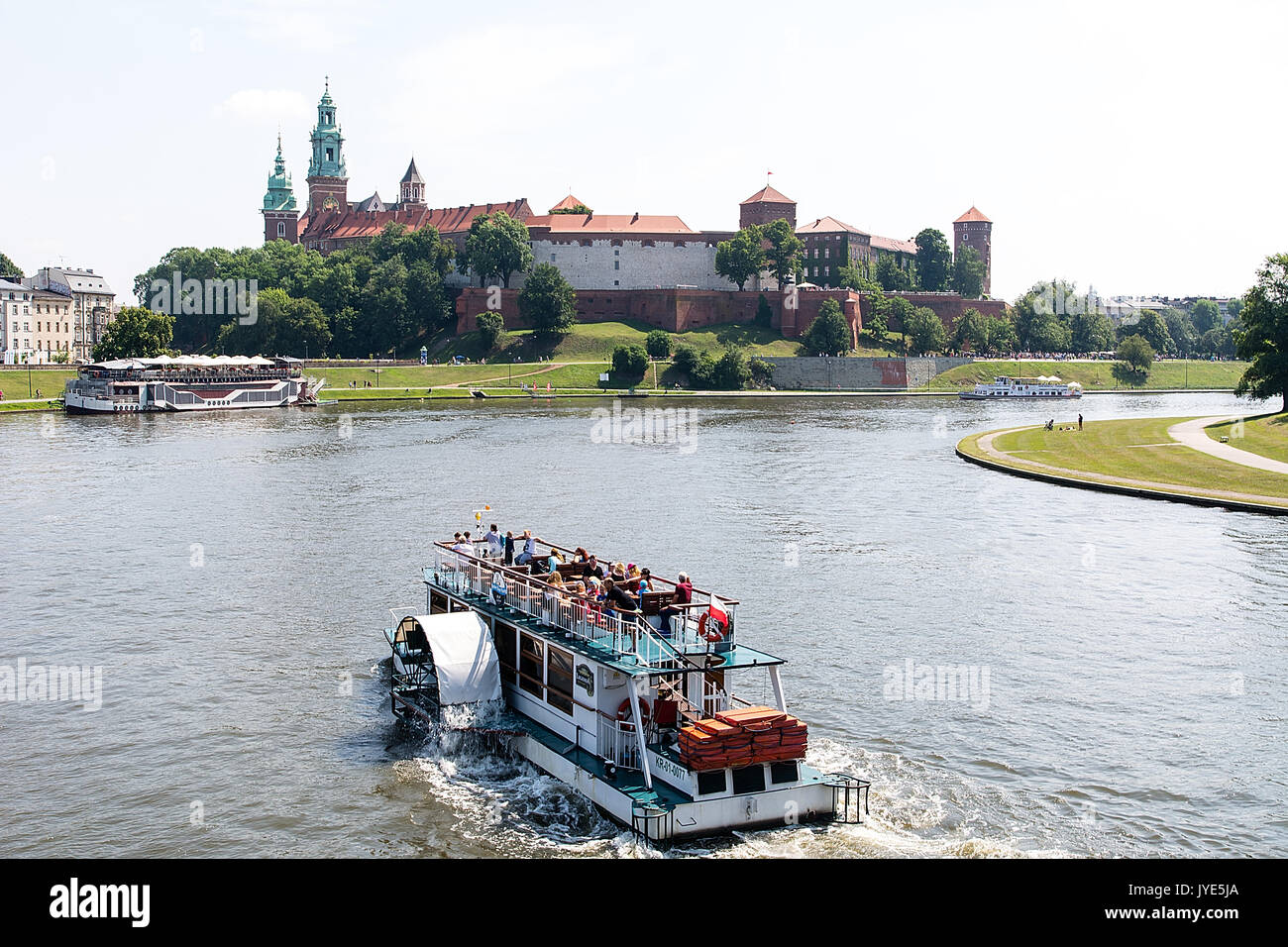 View on the Wawel Castle from Vistula river in Krakow (Poland) Stock Photo