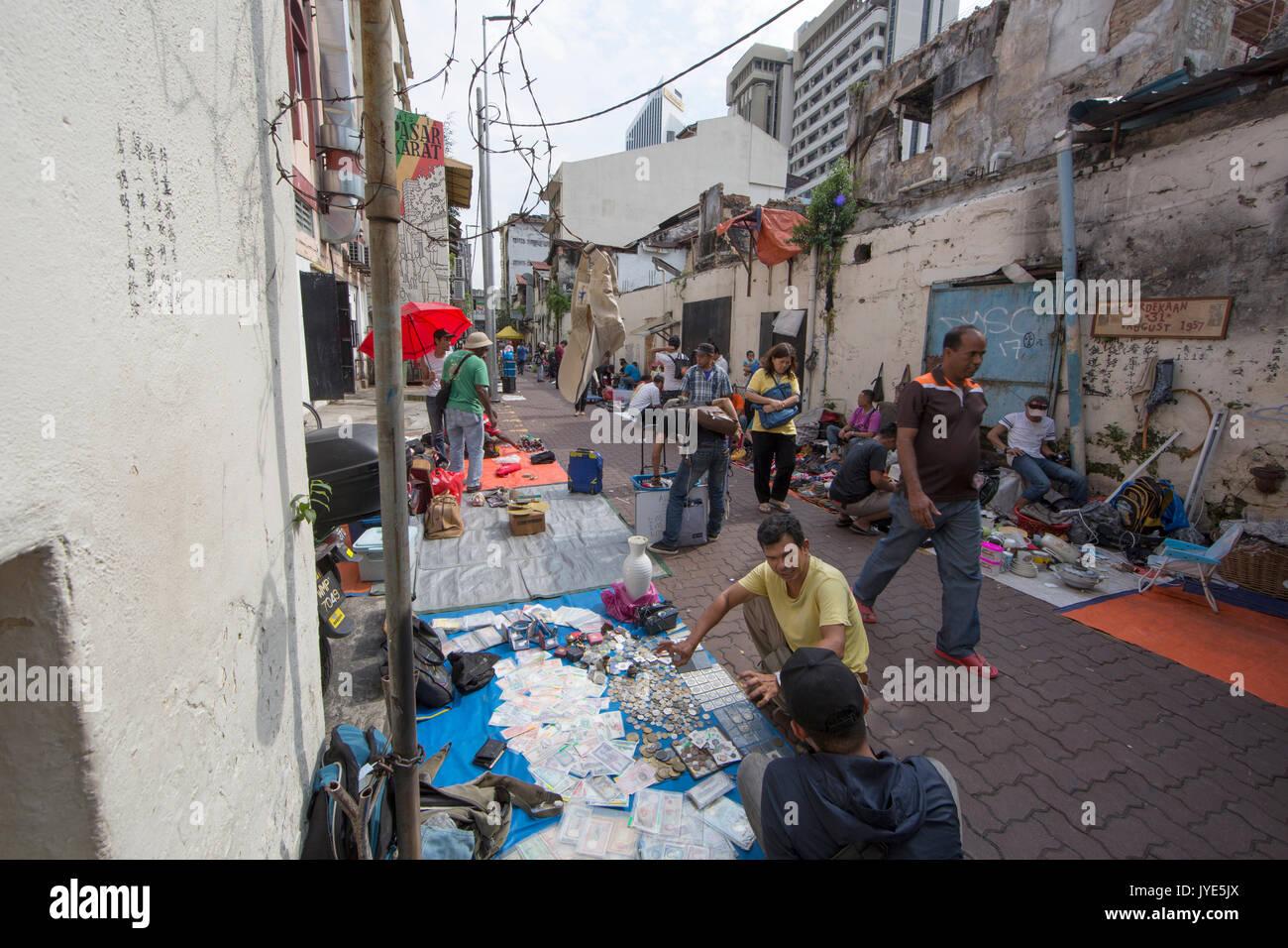 Used items street market in Chinatown, Kuala Lumpur - Stock Image