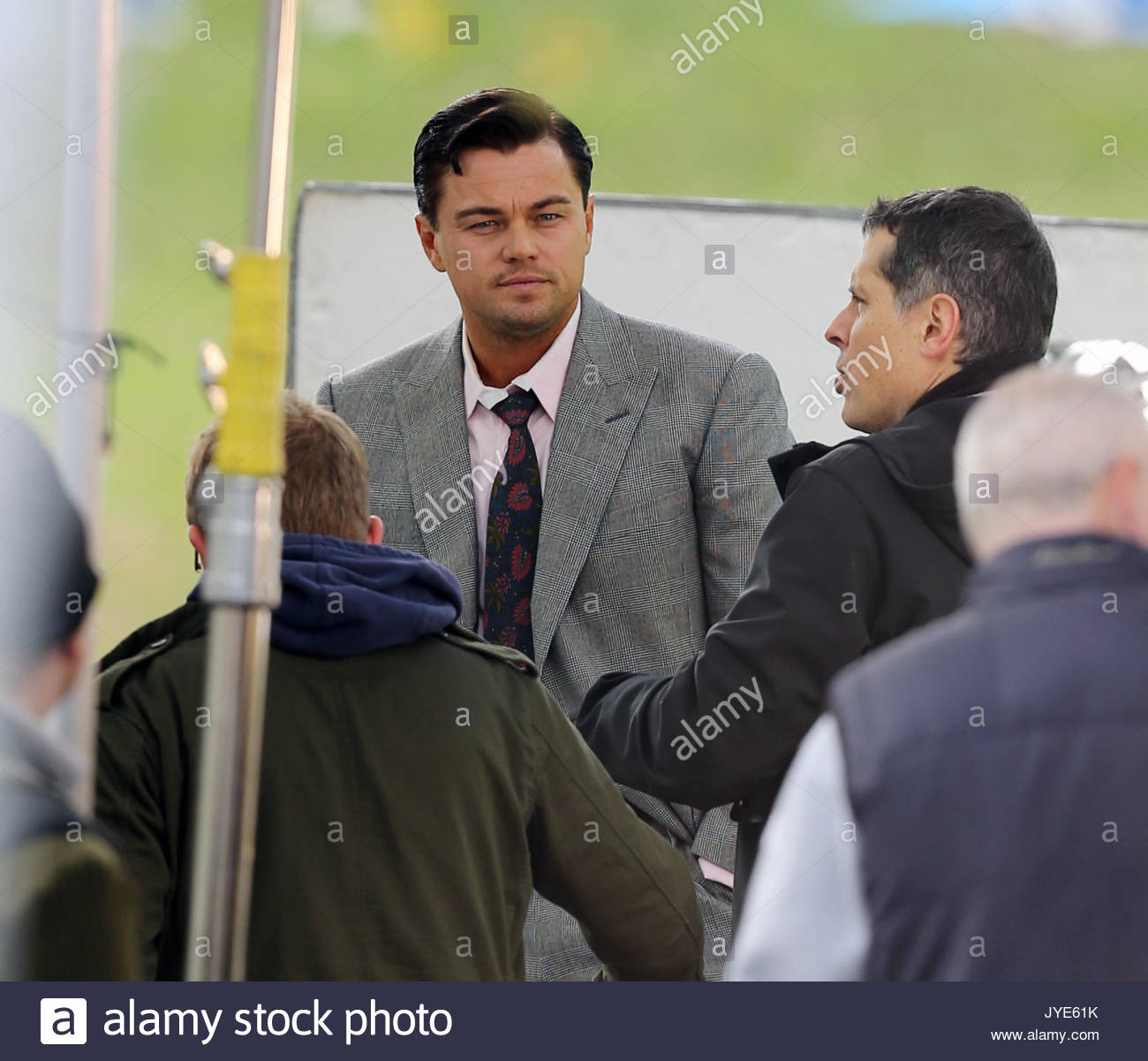 e105e16b8d4 Leonardo DiCaprio. Leonardo DiCaprio shoots further scenes for the Scorsese  directed film  Wolf of Wall Street  in Prospect Park