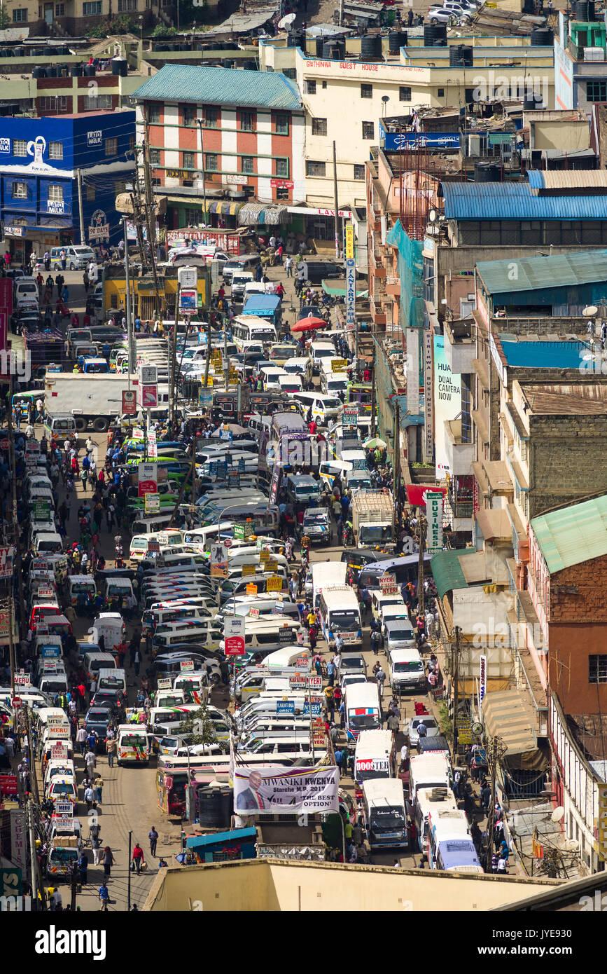 Rows of parked vehicles on Accra Road, Nairobi, Kenya - Stock Image