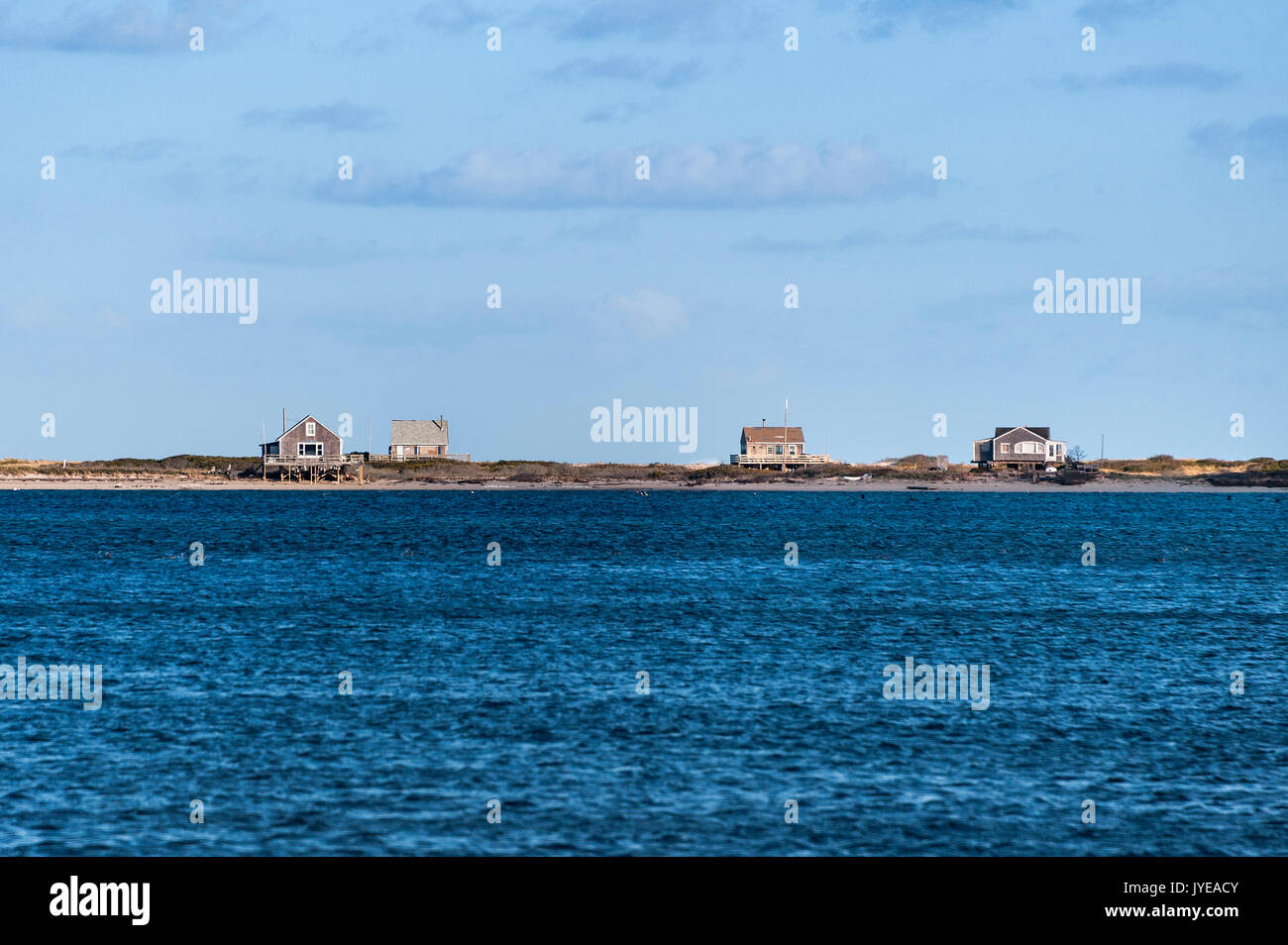 Remote beach cottages, Chatham, Cape Cod, Massachusetts, USA. - Stock Image