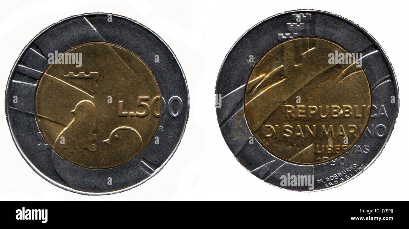 500 lire sanMarino - Stock Image
