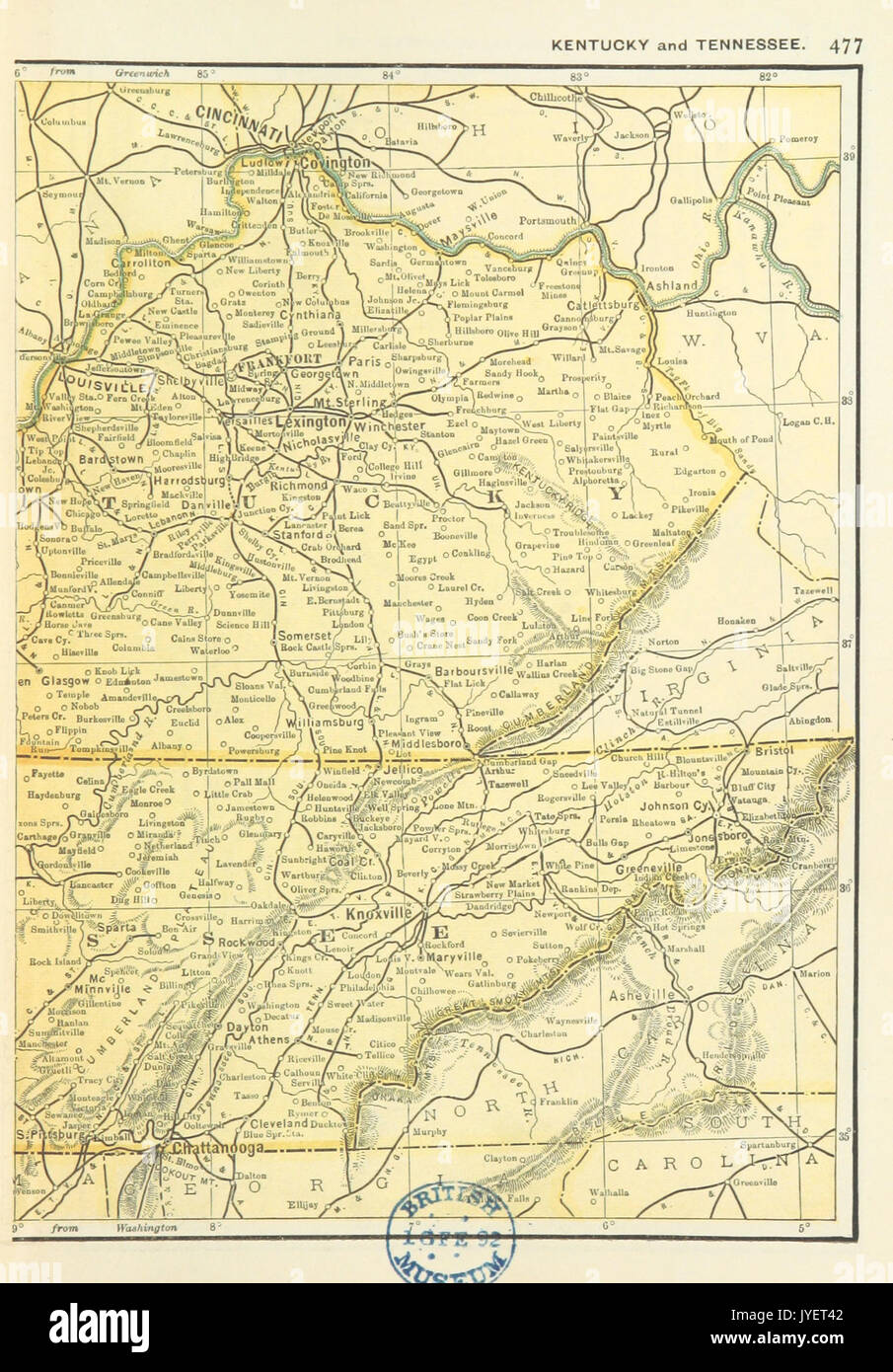 Us Maps 1891 P479 Map Of Kentucky And Tennessee R Stock Photo