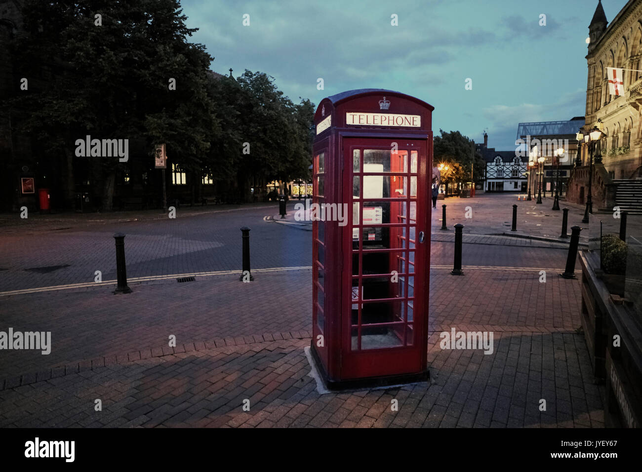 Telephone box in early evening at Chester - Stock Image