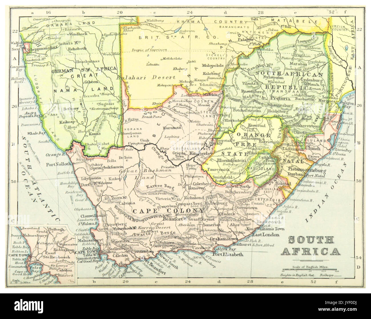 1899) MAP OF SOUTH AFRICA comp. by Irvine Stock Photo: 154608318