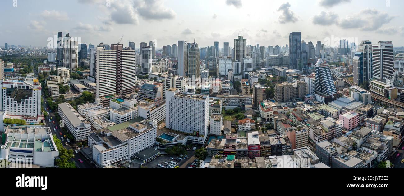 Bangkok City Panorama, Nana and Sukhumvit Road Aerial Photography - Stock Image