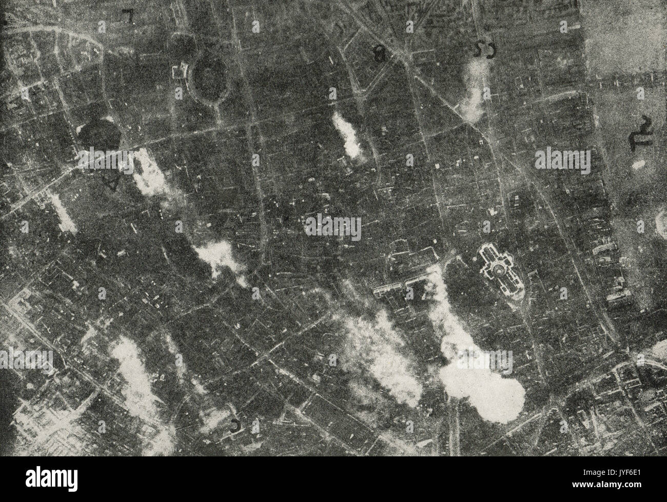 Aerial view of London bombing on 7 July 1917 taken from a German aeroplane - Stock Image