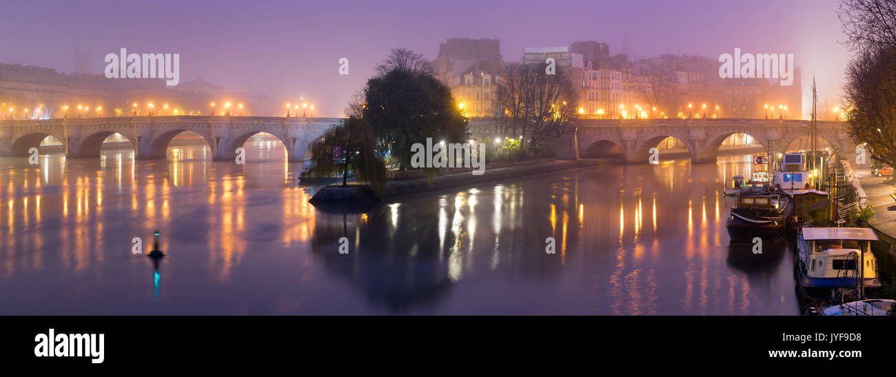 Ile de la Cite at dawn with fog, the Seine River, and Pont Neuf bridge. Winter in Paris, France - Stock Image