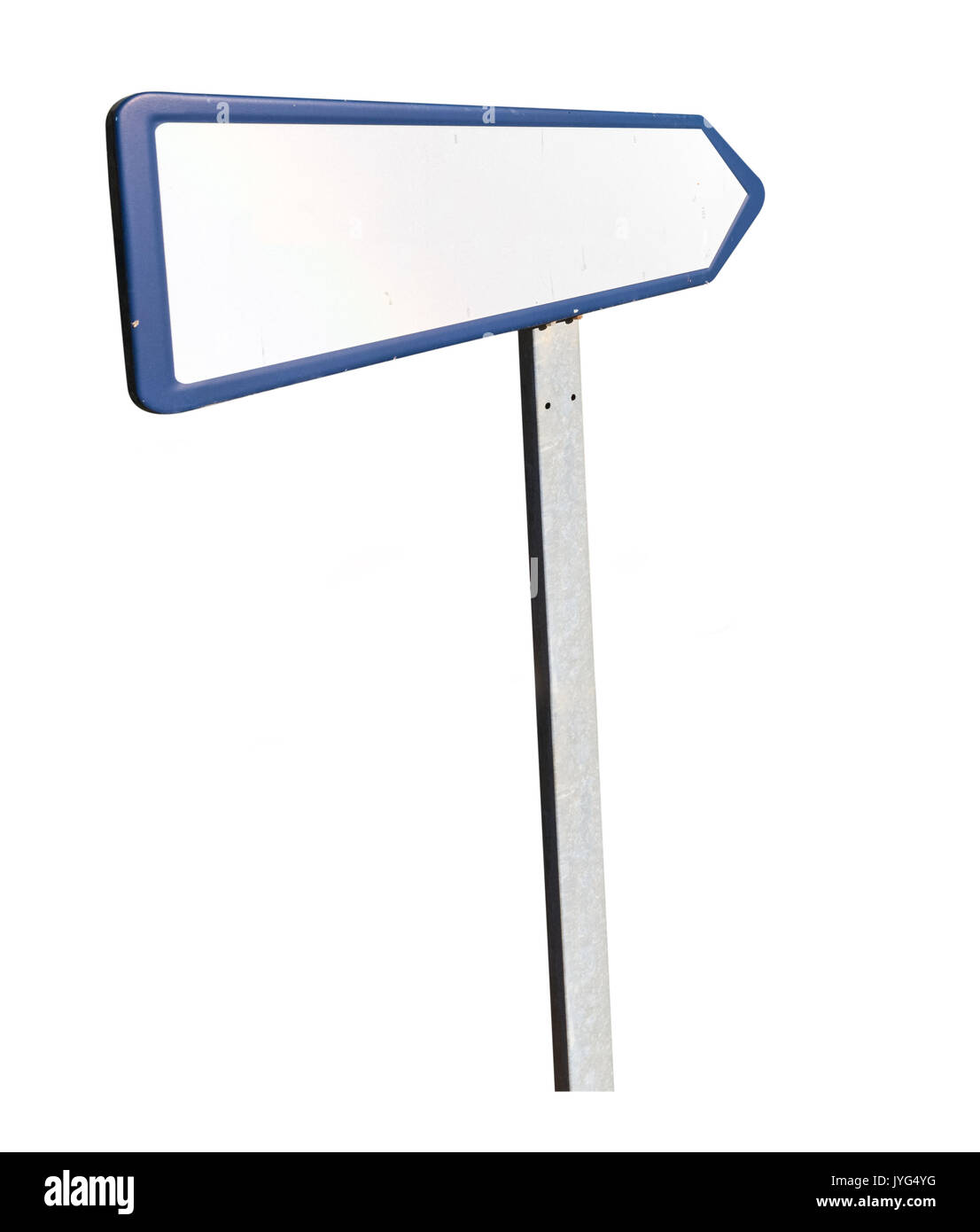 Blank road sign in perspective - Stock Image