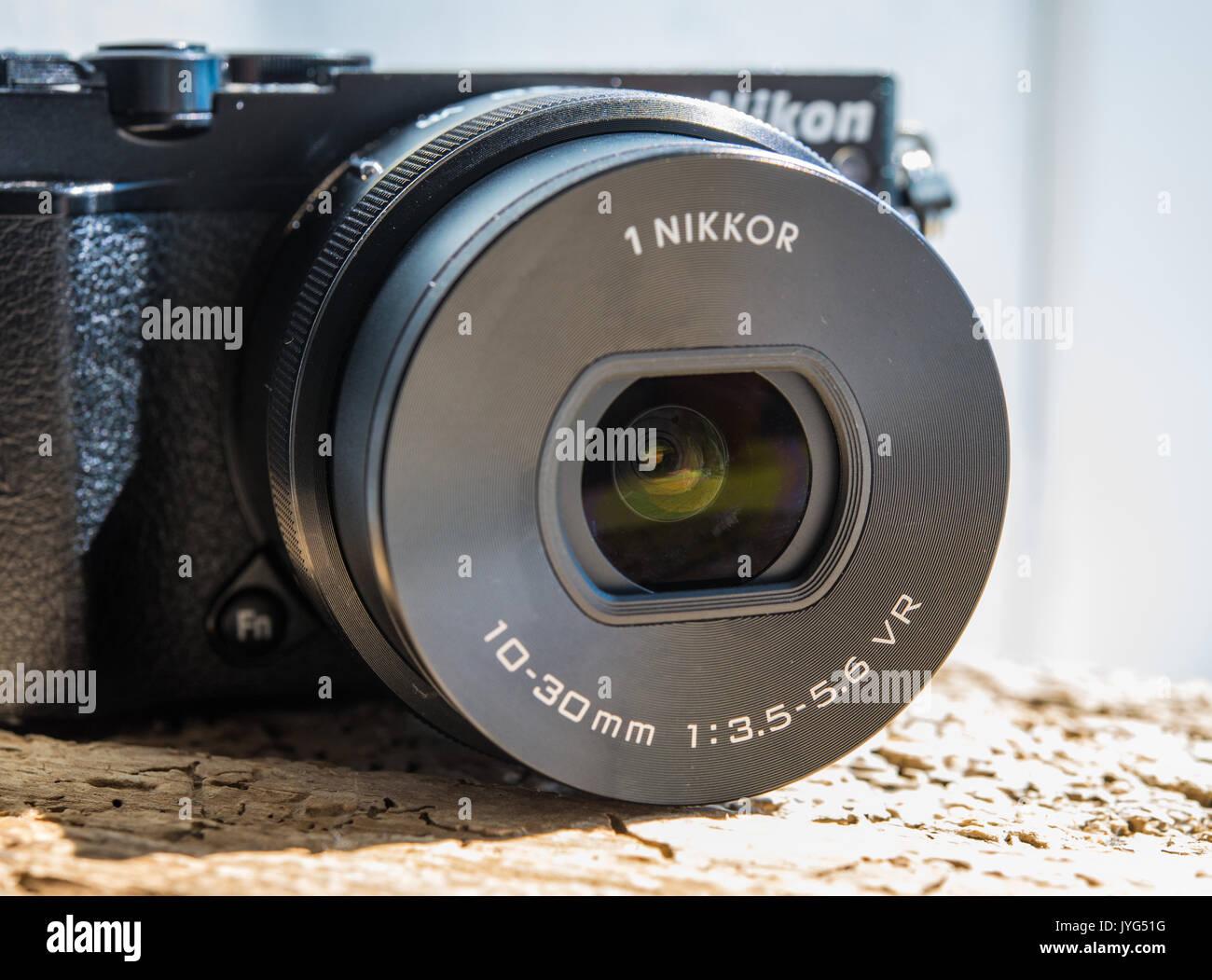 Nikon 1 J5 Camera & Nikkor 10-30mm lens - Stock Image