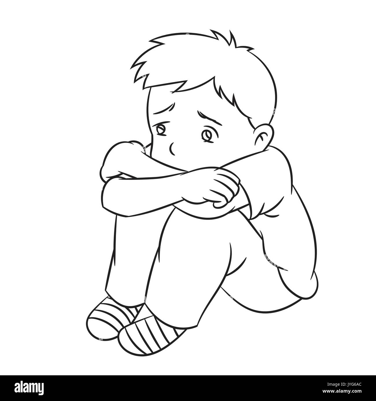 Cartoon of a boy sad and lonely child or student ideal for catalogs informational educational and institutional material