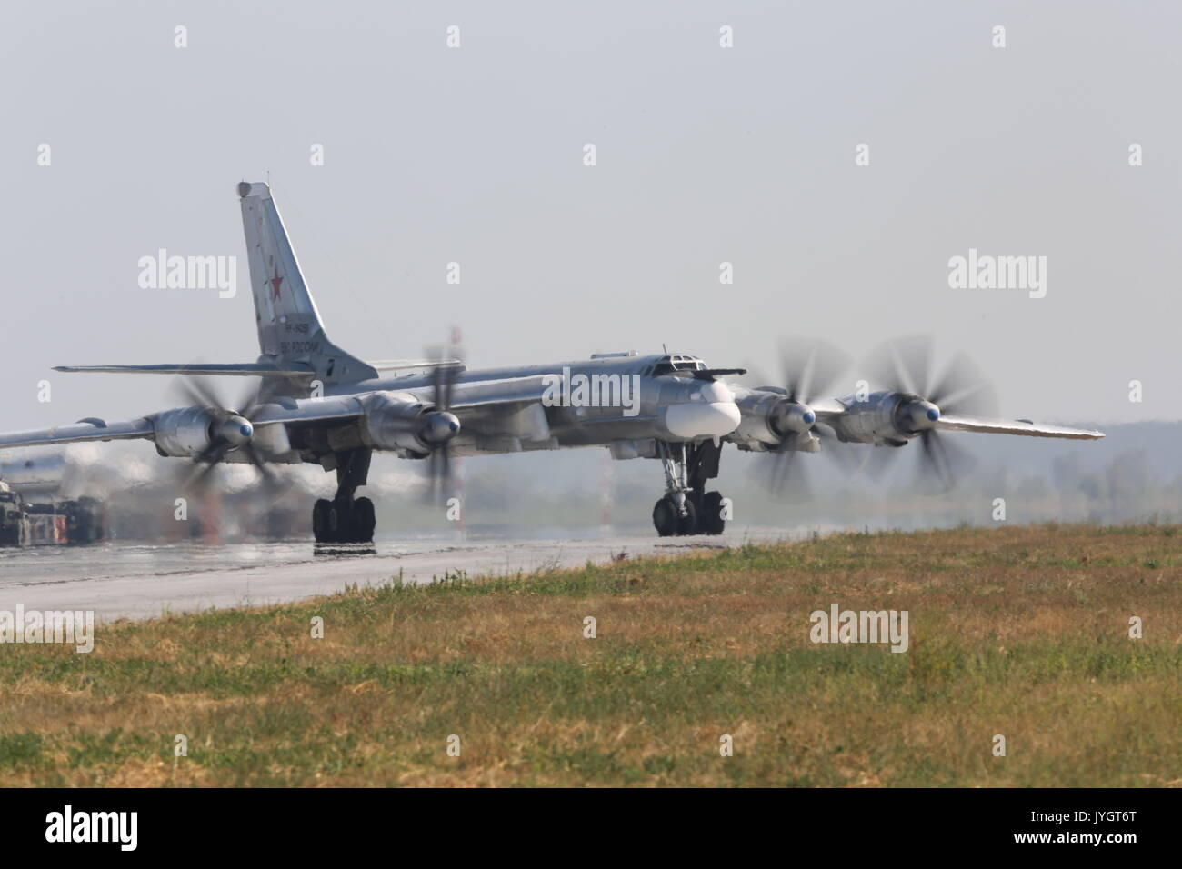 Saratov Region, Russia. 19th Aug, 2017. A Tupolev Tu-95 four-engine turboprop-powered strategic bomber during an open day at Russia's Engels Air Force Base. Credit: Marina Lystseva/TASS/Alamy Live News - Stock Image