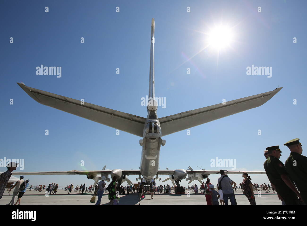 Saratov Region, Russia. 19th Aug, 2017. A Tupolev Tu-95MS four-engine turboprop-powered strategic bomber during an open day at Russia's Engels Air Force Base. Credit: Marina Lystseva/TASS/Alamy Live News - Stock Image